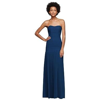16f160b373d David s Bridal Long Fit and Flare Mesh Bridesmaid Dress Style F18076 ...