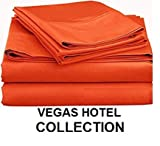 VEGAS HOTEL COLLECTION Bed Sheets New Collection - 100% Egyptian Cotton 400 Thread Count 4 Piece { Orange, Solid } Sheet Set Fits Up to 16-18' Inch Deep Pocket ( Queen 60' x 80' )