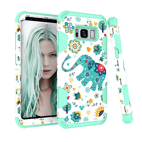 Galaxy S8 Case, Jessica Elephant Design 3in1 Hard PC Soft Silicone Rubber Combo Hybrid Impact Protection Shockproof Drop-Protection Defender Case Cover for Samsung Galaxy S8 (2017 Released)