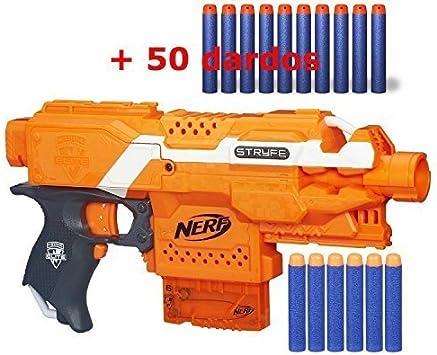 Nerf - pistola ELITE STRYFE BLASTER + Pack de (((50 dardos))) para Nerf!!! ®GastaMenosDinero (Azul): Amazon.es: Juguetes y juegos