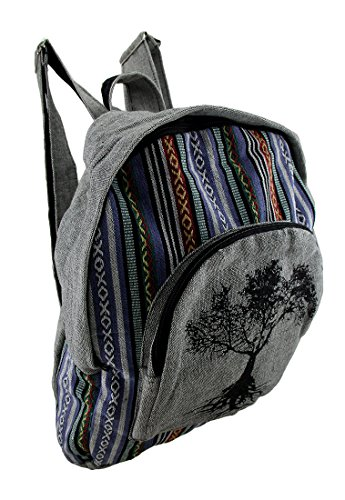 Zeckos Tree of Life Grey Cotton Canvas Striped Tapestry Fully Lined Backpack