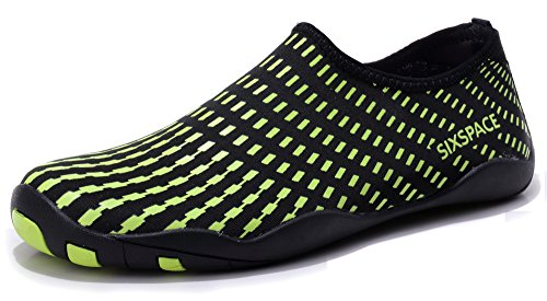 Sixspace Men Women Water Shoes Quick-Dry Durable Sole Barefoot Water Skin Shoes for Beach Pool Surf Yoga Exercise, Fluorescent Green 38