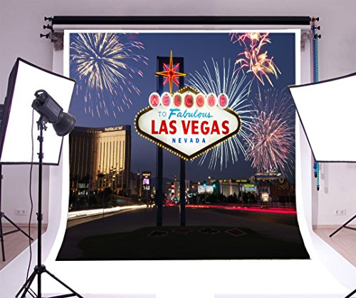 Laeacco 6x6ft Vinyl Backdrop Photography Background Welcome to Fabulous Las Vegas Nevada Fireworks Lighted Sign City Night View Landscape Travel Wedding Holiday Party Decorations Backdrop