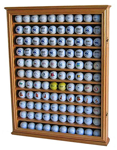 (Oak Shadow Box Wall Cabinet To Hold 110 Golf Balls Display With Glass Door)
