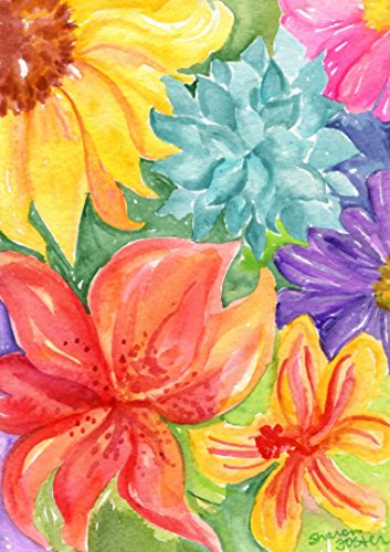 Tropical flowers, succulents watercolors paintings Original floral artwork, 5 x 7 - Tropical Flower Paintings