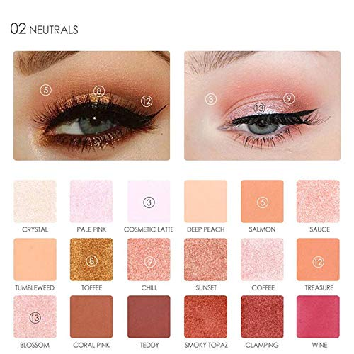 Nuda Beauty Makeup Palette Professional 18 Color Shimmer Matte Pigments Eye Shadow Maquiagem Diamond Glitter Eyeshadow Palette FA40-02