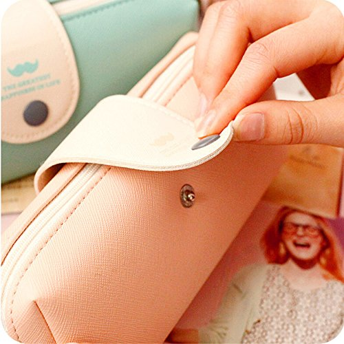 2 Pieces/lot Korean Candy Color Pencil Case Pu Leather School Pencil Bag for Girl Stationery
