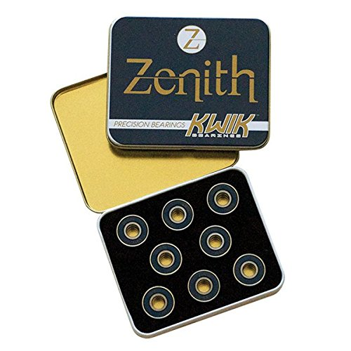KwiK Bearings - Zenith Bearings - Set of 16 Heat-Treated Alloy Roller Skate Bearings - 8mm ()
