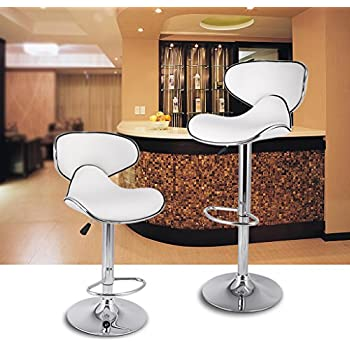 LANGRIA White Bar Stools Sets Adjustable Swivel Counter Height Stools With  Leatherette Exterior, Chrome Plated