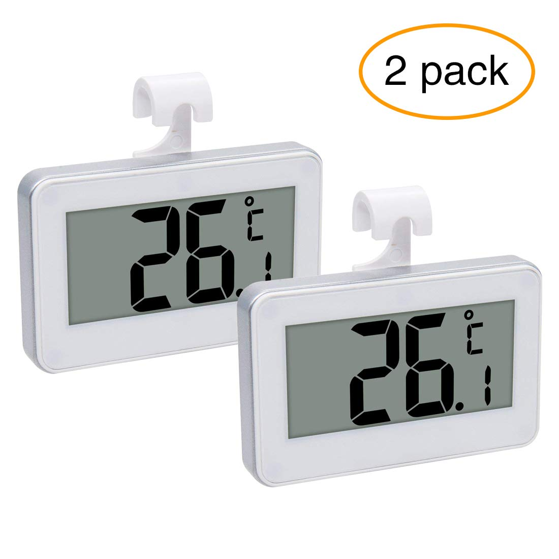 2 Pack Refrigerator Thermometer Digital Freezer Thermometer Waterproof Room Fridge Thermometer with Hook, Large LCD Display for Easy Read by YOBAYE