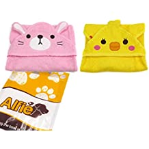 Alfie Pet by Petoga Couture - Kate Hooded Bath Towel 2-Piece Set for Small Dogs and Cats - Color: Pink and Yellow, Size: L