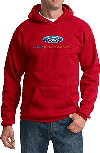 (Lucky Ride Ford Performance Racing Hooded Sweatshirt Pullover Ford Motor Power Men's Hoodie,Red Small)