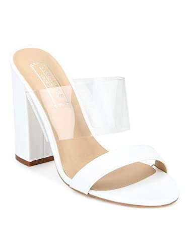 755fb141785 TRUFFLE COLLECTION White Perspex Two- Part Slip-on Block Heels  Buy Online  at Low Prices in India - Amazon.in