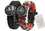 A2S Paracord Bracelet Survival Gear Kit Colorful Everest Series with built-in New Type Compass, Fire Starter, Emergency Knife & Whistle - Pack of 2 - Quick Release Buckles (Black / Red Camo)