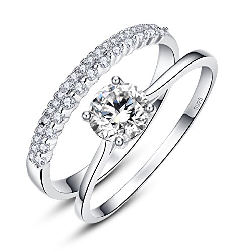 AVECON Women's 925 Sterling Silver Round Cut White CZ Solitaire Engagement Rings Band Size 6