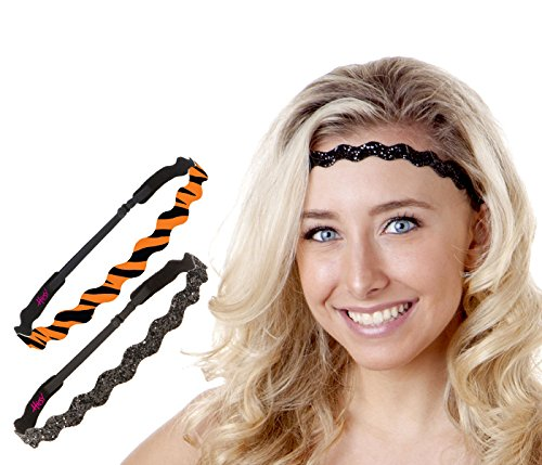 Hipsy Women's Adjustable No Slip Bengal Tiger Headband (Wave Tiger & Black 2pk) -