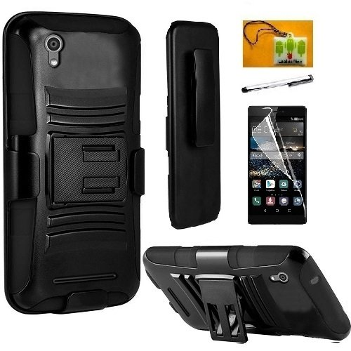 Huawei Pronto LTE H891L / G620 / Huawei Vision 3 Case, Luckiefind Hybrid Armor Stand Case with Holster and Locking Belt Clip, Stylus Pen, Screen Protector (Holster Black)