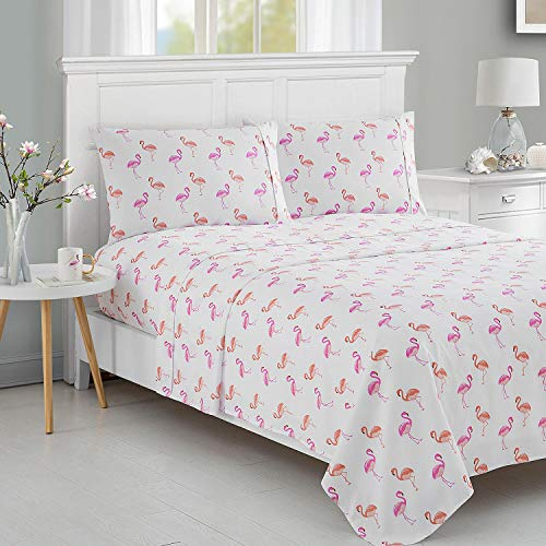 Caribbean Joe Ultra-Soft Double Brushed 4-Piece Microfiber Sheet Set. Beautiful Tropical Patterns, and Vibrant Solid Colors, Luxury, All-Season Bed Sheet Set - Flamingo, - Flamingo Pattern