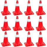 15'' High Hat Cones in Fluorescent Orange with Reflective Sleeve for Indoor/Outdoor Traffic Work Area Safety Marker & Agility Sport Training by Bolthead Industrial (12-Pack)
