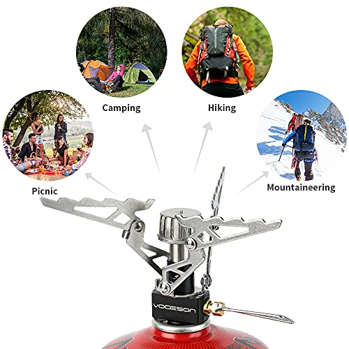 Portable Mini Camp Stove Backpacking Stove Support Wind-resistance Lightweight Camping Stoves For Travel Stove Outdoor Camping Hiking Cooking Include Piezo Ignition Backpack Buckle