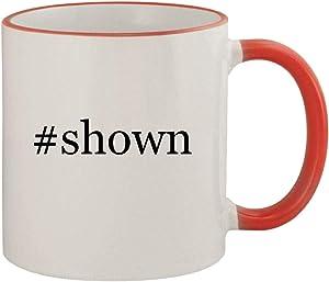 #shown - 11oz Ceramic Colored Rim & Handle Coffee Mug, Red