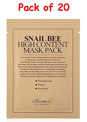 [Pack of 20] Benton Snail Bee High content Sheet Mask Pack with Ponytail Elastics