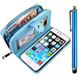 For Samsung Galaxy S7 SM-G930F Case,Vandot [Magnetic Detachable] Premium PU Leather Zipper Wallet Case Wrist Strap Purse With Card Slots Flip Folio Book Style Protective Cover Shell +Bling Screen Stylus Touch Pen-Blue