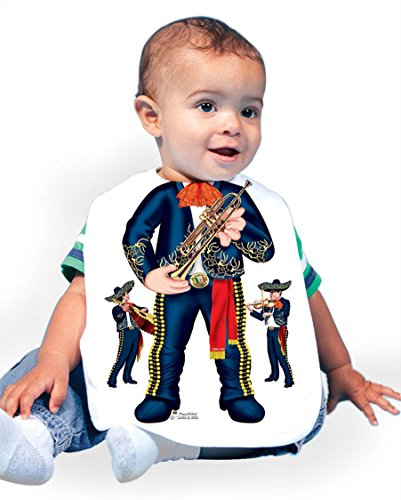 Just Add A Kid Baby Boy's Mariachi Band Black 066 Baby Bib 0-6 Months White