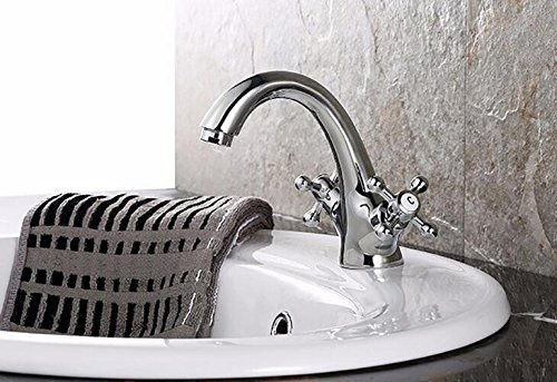 Mkkwp Dual Handle Badezimmer Wasserhahn Basin Wasserhahn Chrom-Finish Solide Messing Schiff Sink Hot & Cold Wasserhahn