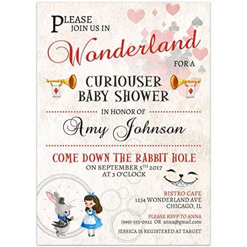 Amazon Alice In Wonderland Baby Shower Invitations Handmade