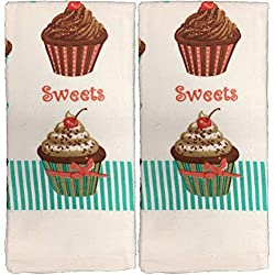 "2 Pack 100% Cotton Everyday Basic Printed Terry Kitchen Towels Size : 18"" x 28"". (Cup Cake)"