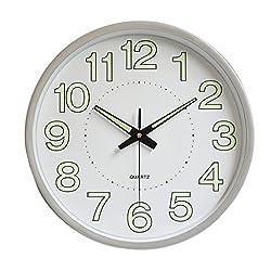Homyl 12-Inch Large Luminous Wall Clock Silent Quartz Analog Clock for Living Room Bedroom, Night Lights & Non-Ticking - Silver
