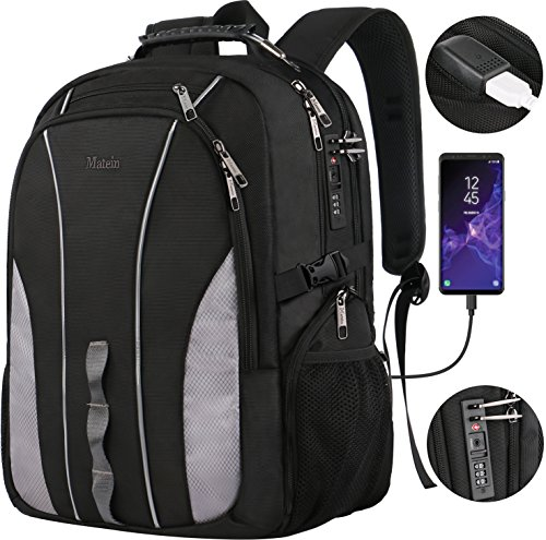 Travel Backpack with Lock,Large Business Durable Water-Resistant Laptop Backpack for Men Women,TSA Anti Theft School College Big Student Computer Bookbag with USB Port, Fits 17 Inch Laptop &Notebook - Over Double Compartment Laptop Bag