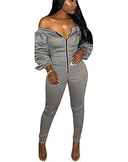 f44d31574090 Mycherish Women s V Neck One Shoulder Suspender Cut Out Bodycon Sheath Long  Pants Set Party Jumpsuits
