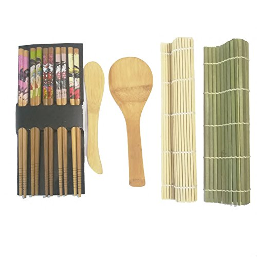 Weiquanji Sushi Making Kit, Sushi Tools for Beginner Included 2 Sushi Rolls Mats - 1 Rice Paddle - 1 Rice Spreader and 5 Pairs Chopsticks, Natural Bamboo Sushi Kit Maker (Green) by Weiquanji