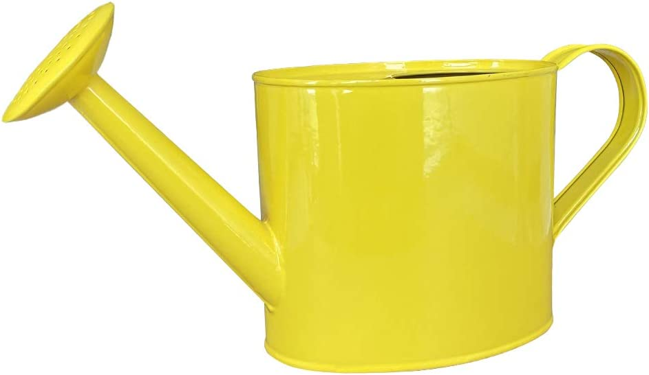 SunnyTong Galvanized Steel Watering Can Metal Watering Can for Outdoor Plants (1.5L-Yellow)