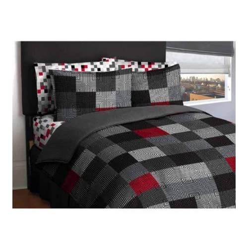 Cheap Latitude Teen America Bordered Geometric Red, Black Blocks Reversible Solid Gray Bedding Queen Comfort Set for Boys (5 Piece in a Bag) free shipping