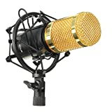 Condenser Microphone, M.Way Studio Broadcasting Vocal Recording Microphone KTV Mic with Shock Mount, Audio Cord, Foam Cap For Sounds Recording, Interview, Home, Stage, Music Insturments Black