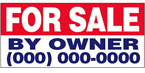 for Sale by Owner Vinyl Banner Custom Sign 2x4 ft - (add Your Phone #)
