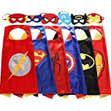 Zaleny Superhero Costumes Dress Up Satin Capes with Felt Masks set of 6