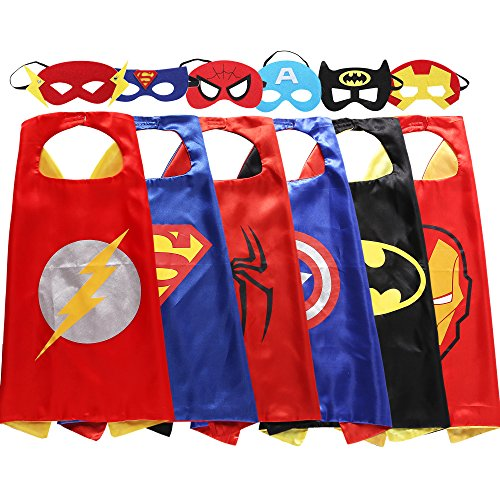 [Zaleny Superhero Dress Up Costumes 6 Satin Capes with Felt Masks] (Iron Man 3 Costumes Kids)
