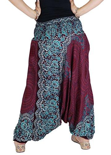 AuthenticAsia–panal Collection- Super suave pulgadas 2en 1pantalones de harén y mono Rosso