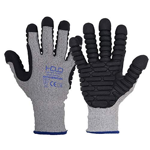 Anti Vibration Work Glove, Anti Cut Linner, Ungrade Mould TPE Pads, Men Safety Work Gloves for anti vibration from Electrical Tools (Large)