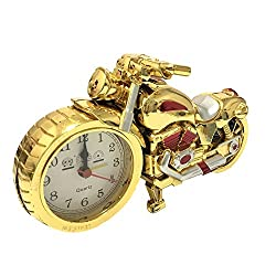 Motorcycle Alarm Clock ROOVON Desk Shelf Clock Unique Gift for Motorcycle Fans Children Kids Luxury Retro Decoration for Home.Gold&Red