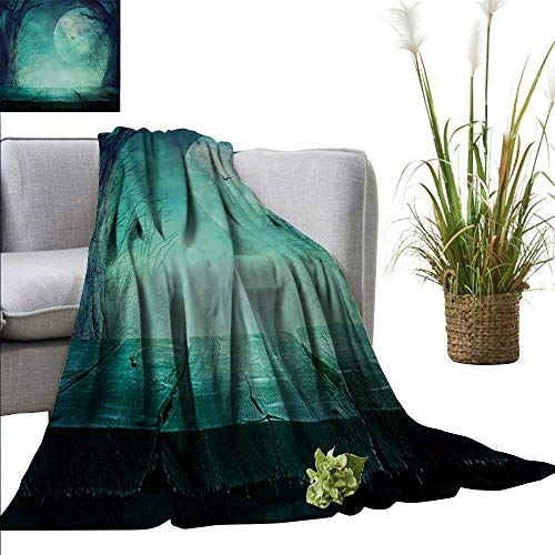 AndyTours Summer Blanket,Halloween,Spooky Teal Forest Moon and Vain Branches Mystical Haunted Horror Rustic Imagery Print,Teal,Lightweight Breathable Flannel Fabric,Machine Washable -