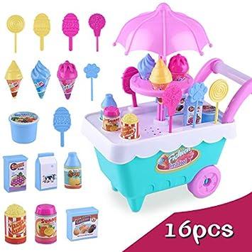 Queta Kids Simulación Candy Helado Crema Carro Niña Educativo Pretendente Juego Juguetes 16 Piezas/Set: Amazon.es: Informática