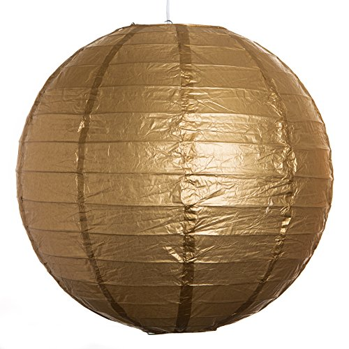 Round-Party-Wedding-Lanterns-16-Inch-Gold-Even-Ribbed-Paper-Lanterns