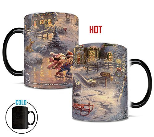 Morphing Mugs Thomas Kinkade Disney Mickey and Minnie Sweetheart Holiday Heat Reveal Ceramic Coffee Mug - 11 Ounces