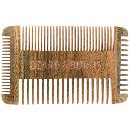 Four Sided Wooden Beard Comb by Beard and Burns - Made from All Natural and Scented Sandalwood - 4 Sides of Different Teeth Widths - Premium Quality Handmade Comb Best for Beard and (Side Four)