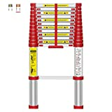 WolfWise 12.5 FT Telescoping Ladder Aluminum Telescopic Extension Tall Multi Purpose (12.5 Ft Red)
